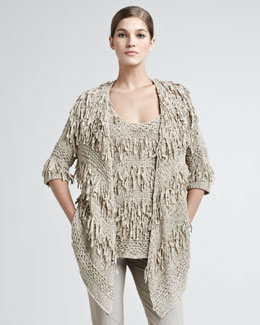 Donna Karan Ribbon Draped Cardigan