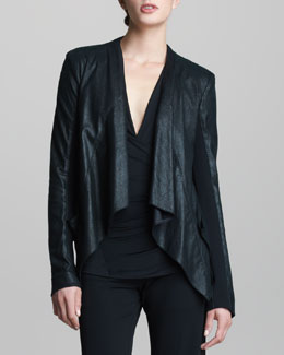 Donna Karan Lambskin Leather Drape Jacket