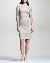 Valentino Bow-Back Lace Sheath Dress, Poudre