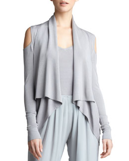 Donna Karan Open-Shoulder Cozy Cardigan