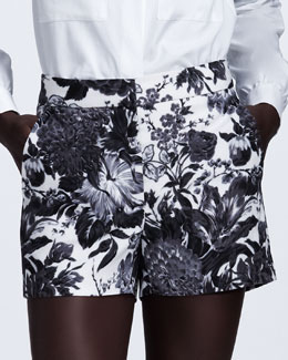 Stella McCartney Floral-Print High-Waist Shorts