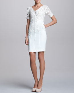 J. Mendel Short-Sleeve Dress with Lace Overlay