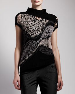 Rick Owens Asymmetric Crochet Top
