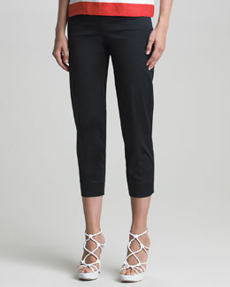 Armani Collezioni Cropped Stretch-Cotton Pants
