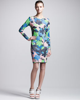 Jonathan Saunders Leaf-Print Long-Sleeve Jersey Dress