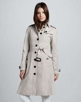 Burberry Single-Breasted Poplin Trenchcoat