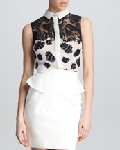Jason Wu Sleeveless Floral Combo Shirt, White/Black