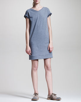 Brunello Cucinelli Ruffle-Trim Sweatshirt Dress