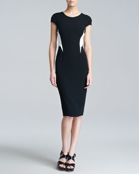 Narciso Rodriguez Colorblock Stretch-Crepe Dress