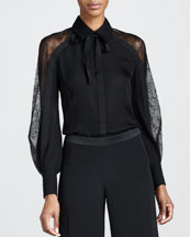 Carolina Herrera Chantilly Lace-Sleeve Blouse