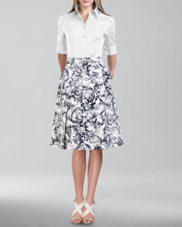 Carolina Herrera Baroque-Print A-Line Skirt