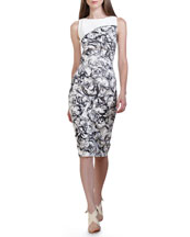 Carolina Herrera Baroque-Print Stretch Cotton Dress