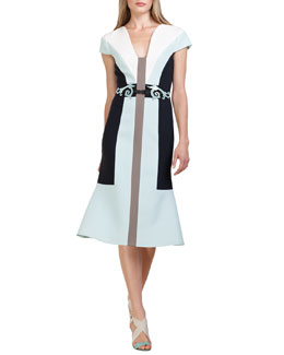 Carolina Herrera Colorblock Wool Crepe Dress