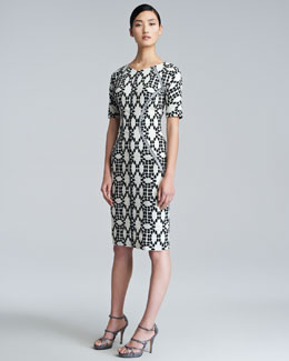 Lela Rose Dot-Print Contour Dress