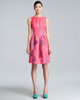 Lela Rose Floral-Pattern Bateau Dress