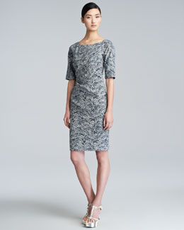 Lela Rose Rose-Print Stretch-Cotton Dress