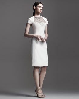 Lela Rose Embroidered Chain-Neck Dress