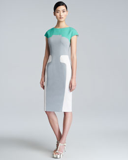 Lela Rose Contour Colorblock Sheath Dress