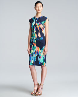 Lela Rose Abstract-Print Sheath Dress