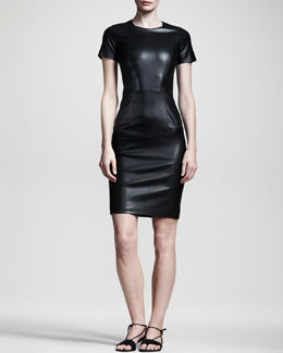 THE ROW Shiny Leather Dress, Black