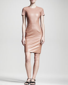 THE ROW Shiny Leather Dress, Mauve