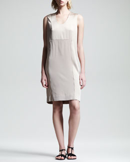 THE ROW Crepe-Back Satin Dress, Truffle