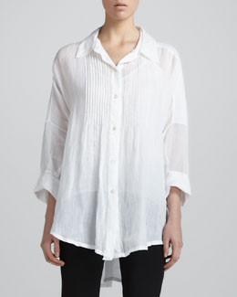 Donna Karan Pintucked Button-Front Tunic, White