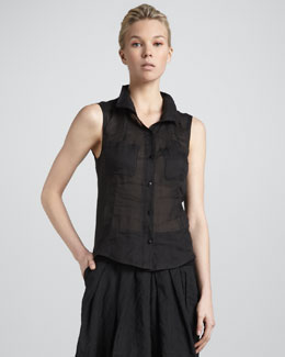 Donna Karan Sleeveless Open-Back Blouse, Black