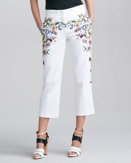 Etro Floral-Print Cropped Pants, White/Multi