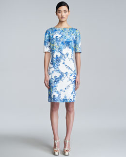 Erdem Bethany Printed Short-Sleeve Dress