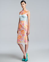 Erdem Floral-Embroidered Sheath Dress, Neon Peach/Blue