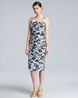 Oscar de la Renta Plaid Taffeta Shantung Dress, Black/White