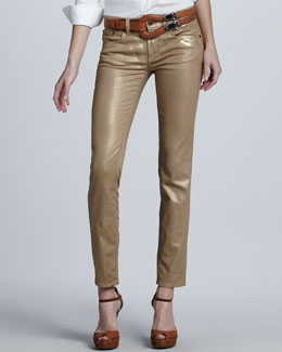 Ralph Lauren Black Label Cropped Metallic Matchstick Pants