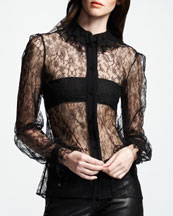 Saint Laurent Long-Sleeve Lace Top