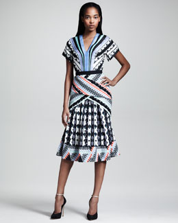 Peter Pilotto Tamara Printed Kimono-Sleeve Dress