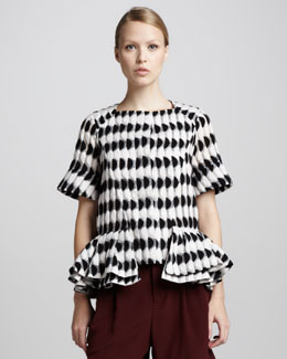 Marni Short-Sleeve Graphic Peplum Jacket