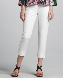 Marni Cropped Side-Zip Pants, Lily White