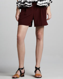 Marni Pleated Shorts, Dark Red
