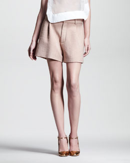 Chloe Rustic Pleated Silk Shorts