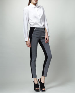 Stella McCartney Bicolor Lulu Jeans, Gray/Black