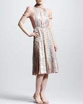 Valentino Snakeskin Pleated Dress, Beige
