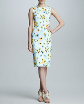 Carolina Herrera Deco Floral-Print Sheath Dress, Yellow