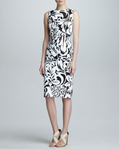 Carolina Herrera Floral Twill Sheath Dress, Black/White