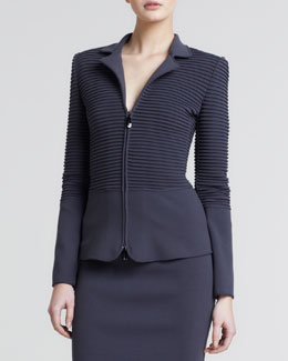 Giorgio Armani Ottoman Ribbed Zip-Front Jacket, Earth