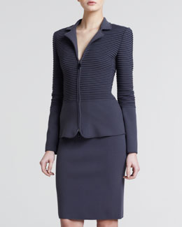 Giorgio Armani Ottoman Pull-On Pencil Skirt, Earth
