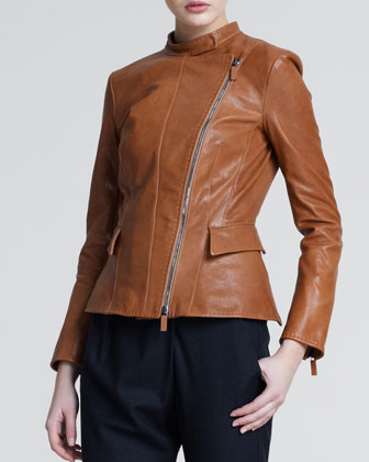 Asymmetric-Zip Leather Jacket, Light Brown