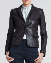 Giorgio Armani Grained Leather Blazer, Brown