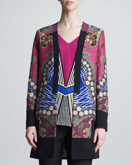 Etro Printed Jacket, Pink/Blue