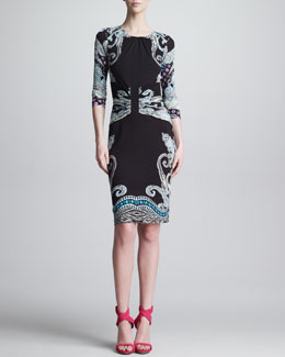 Etro Gathered Round-Neck Paisley Dress, Black