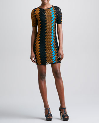 Short-Sleeve Zigzag Knit Dress, Mustard/Turquoise